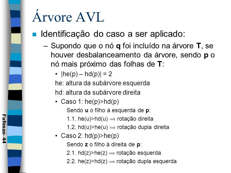 Árvore AVL Identificação do caso a ser aplicado:
