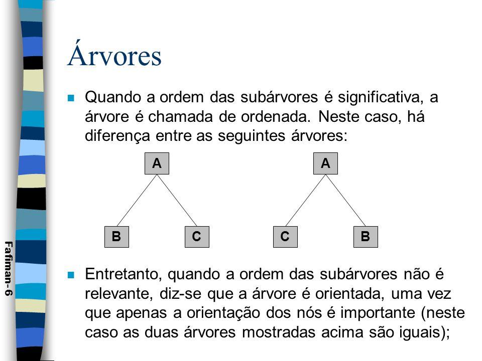 Árvores Quando a ordem das subárvores é significativa, a árvore é chamada de ordenada. Neste caso, há diferença entre as seguintes árvores: