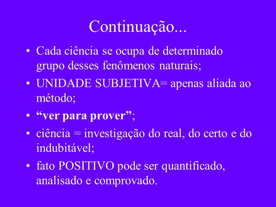 Continuação...Cada ciência se ocupa de determinado grupo desses fenômenos naturais; UNIDADE SUBJETIVA= apenas aliada ao método;