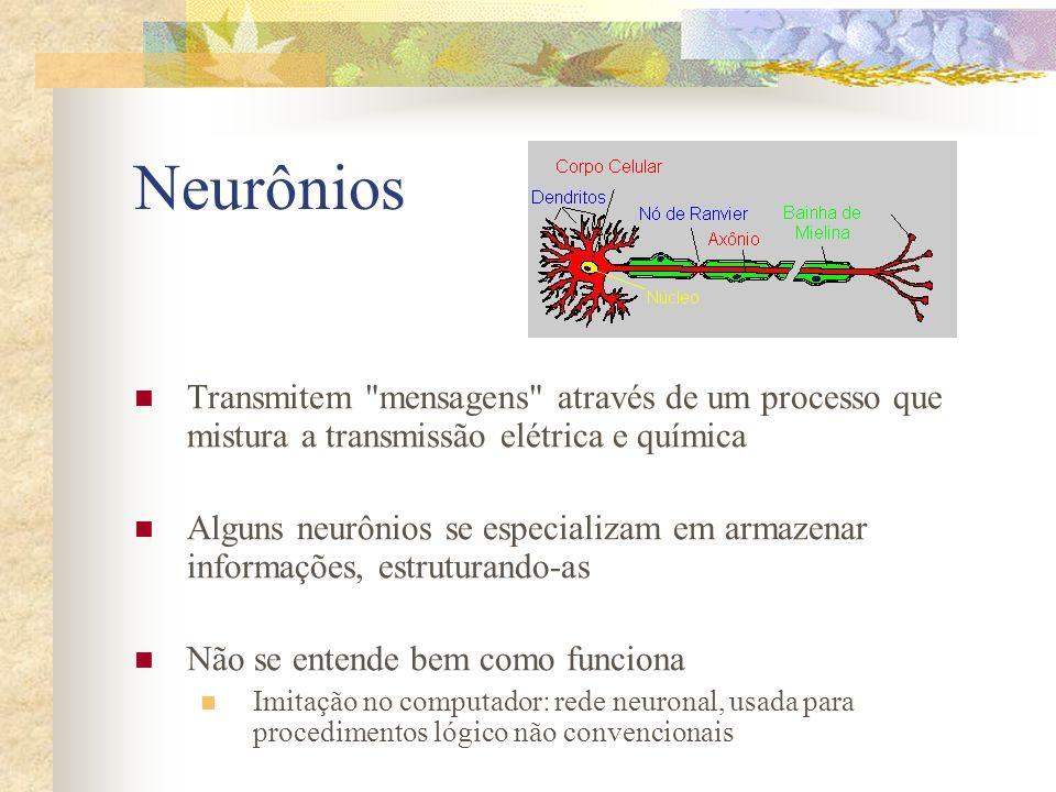 Neurônios Transmitem mensagens através de um processo que mistura a transmissão elétrica e química.