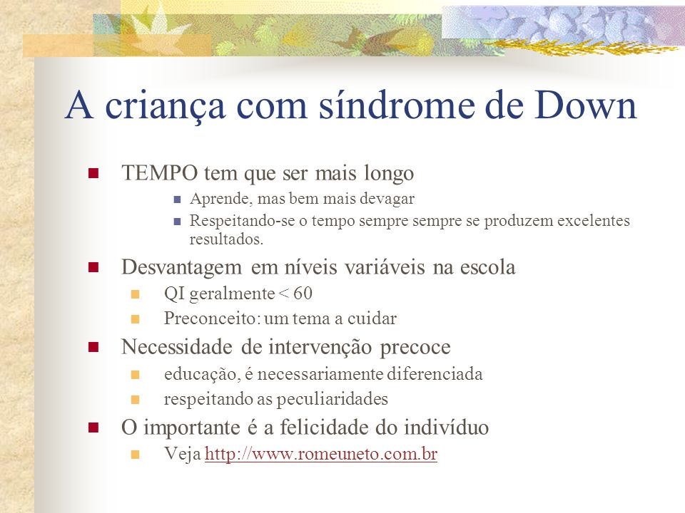 A criança com síndrome de Down
