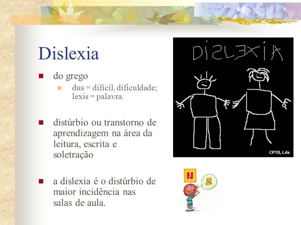 Dislexia do grego. dus = difícil, dificuldade; lexis = palavra. distúrbio ou transtorno de aprendizagem na área da leitura, escrita e soletração.