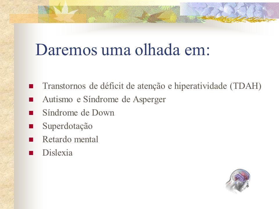 Daremos uma olhada em: Transtornos de déficit de atenção e hiperatividade (TDAH) Autismo e Síndrome de Asperger.