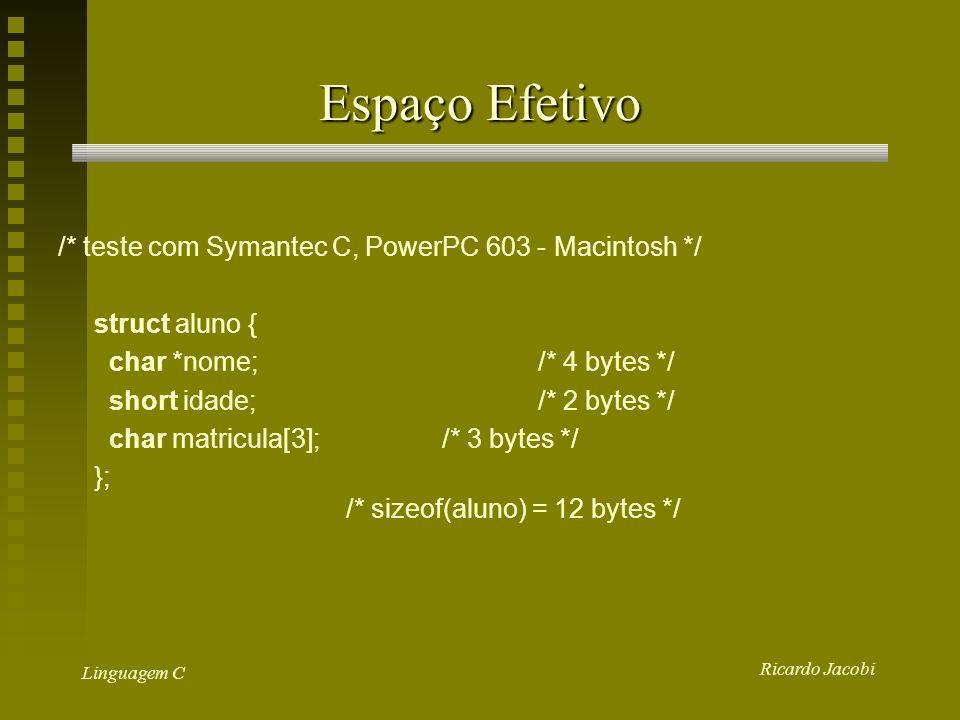 Espaço Efetivo /* teste com Symantec C, PowerPC 603 - Macintosh */