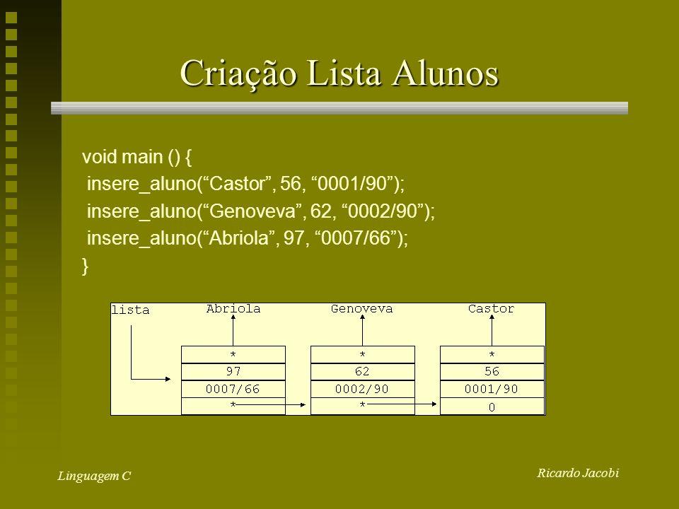 Criação Lista Alunos void main () {