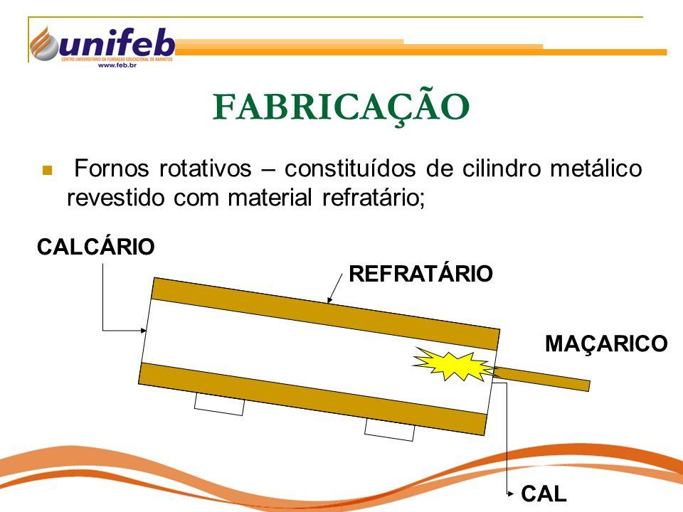 FABRICAÇÃO Fornos rotativos – constituídos de cilindro metálico revestido com material refratário; CALCÁRIO.