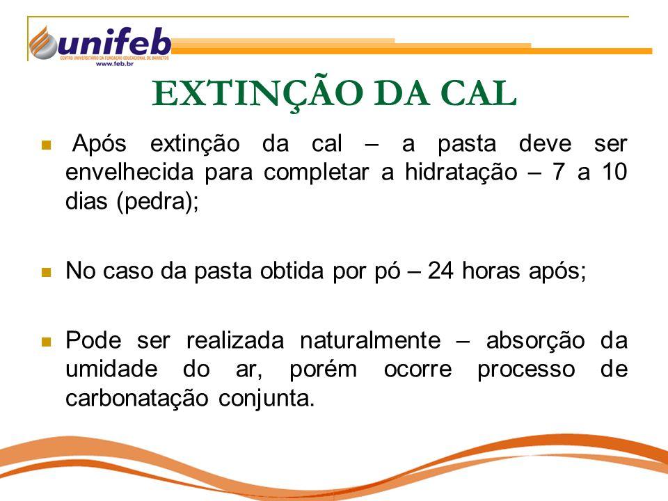 EXTINÇÃO DA CAL Após extinção da cal – a pasta deve ser envelhecida para completar a hidratação – 7 a 10 dias (pedra);