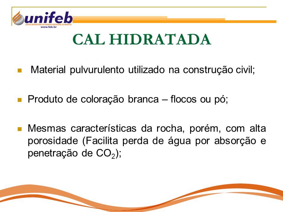 CAL HIDRATADA Material pulvurulento utilizado na construção civil;