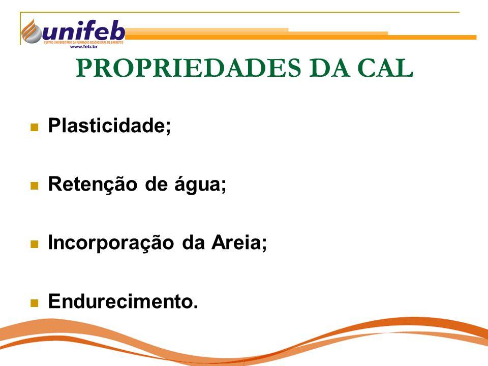 PROPRIEDADES DA CAL Plasticidade; Retenção de água;