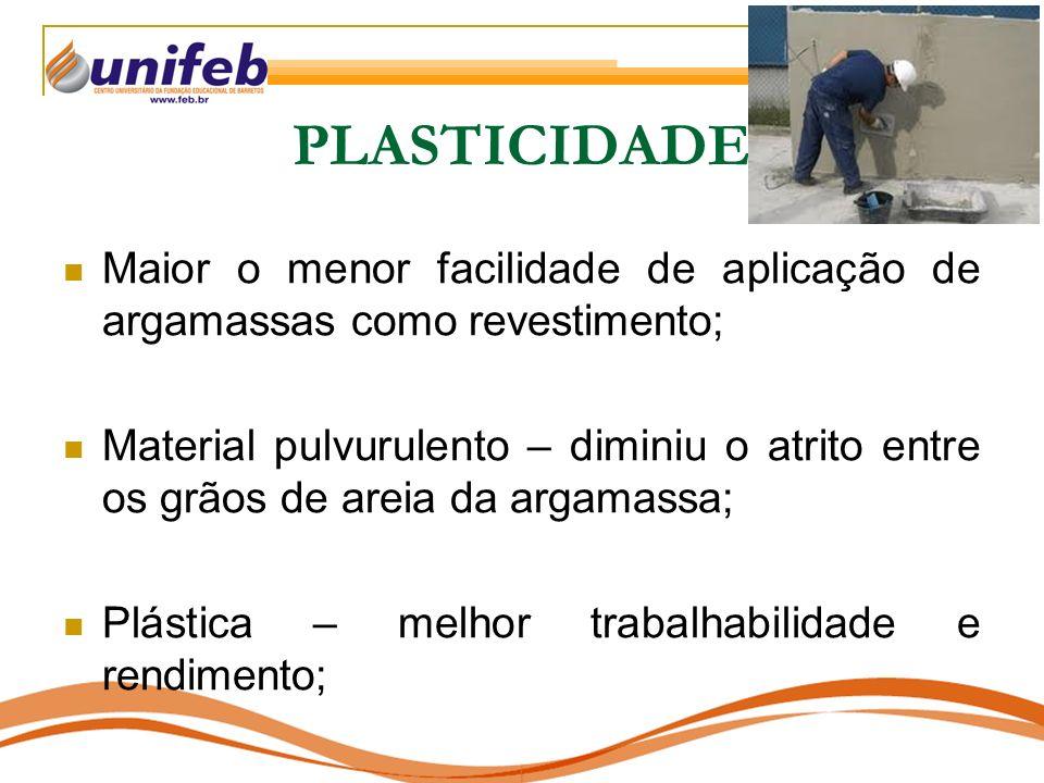 PLASTICIDADE Maior o menor facilidade de aplicação de argamassas como revestimento;