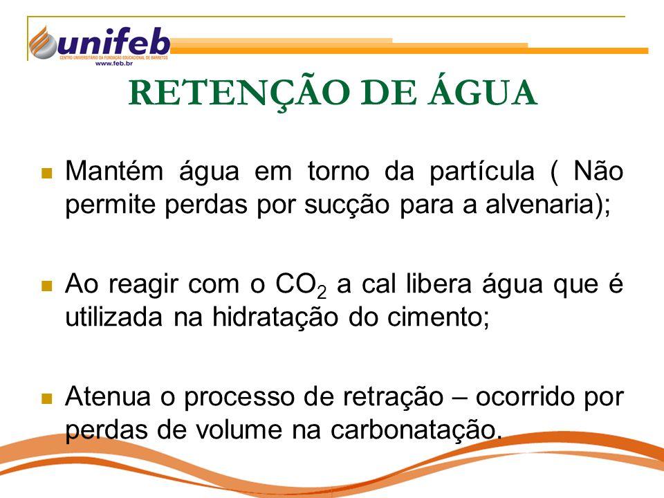 RETENÇÃO DE ÁGUA Mantém água em torno da partícula ( Não permite perdas por sucção para a alvenaria);