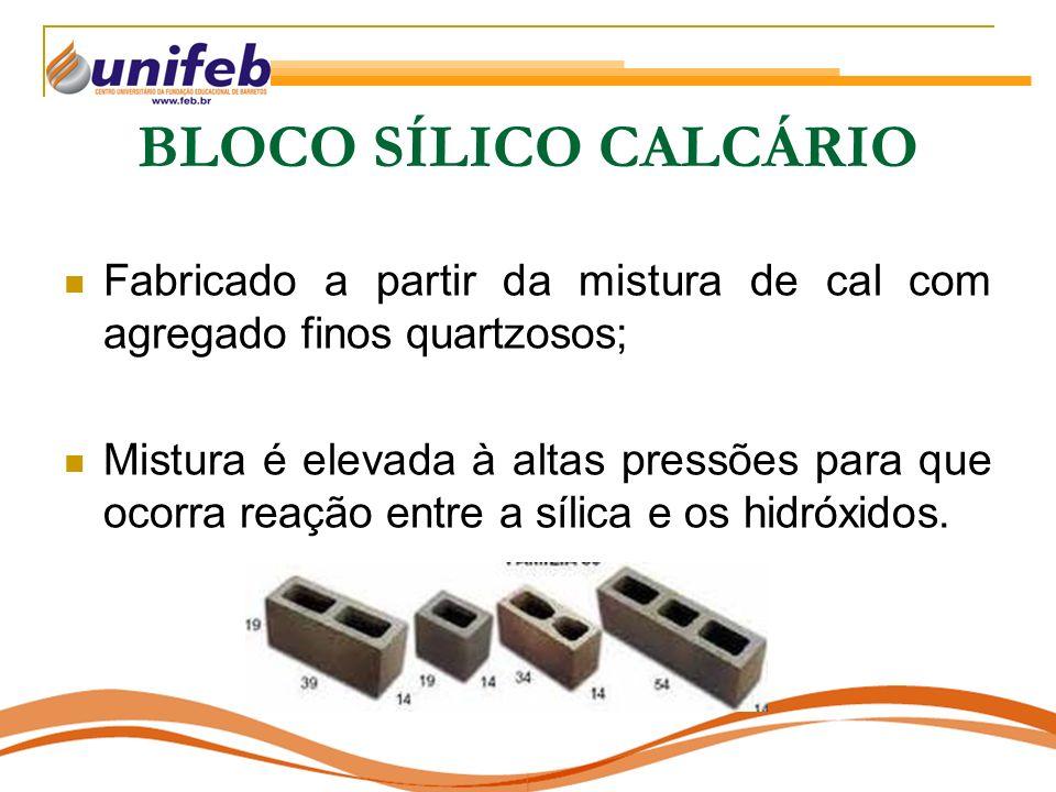 BLOCO SÍLICO CALCÁRIO Fabricado a partir da mistura de cal com agregado finos quartzosos;