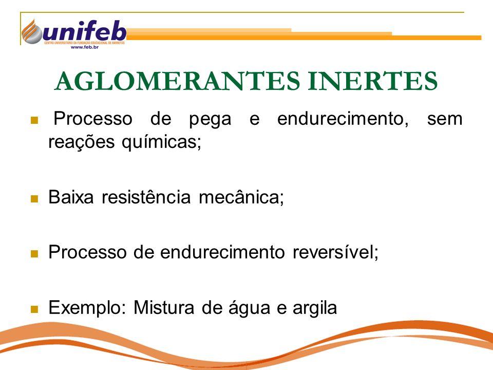 AGLOMERANTES INERTES Processo de pega e endurecimento, sem reações químicas; Baixa resistência mecânica;