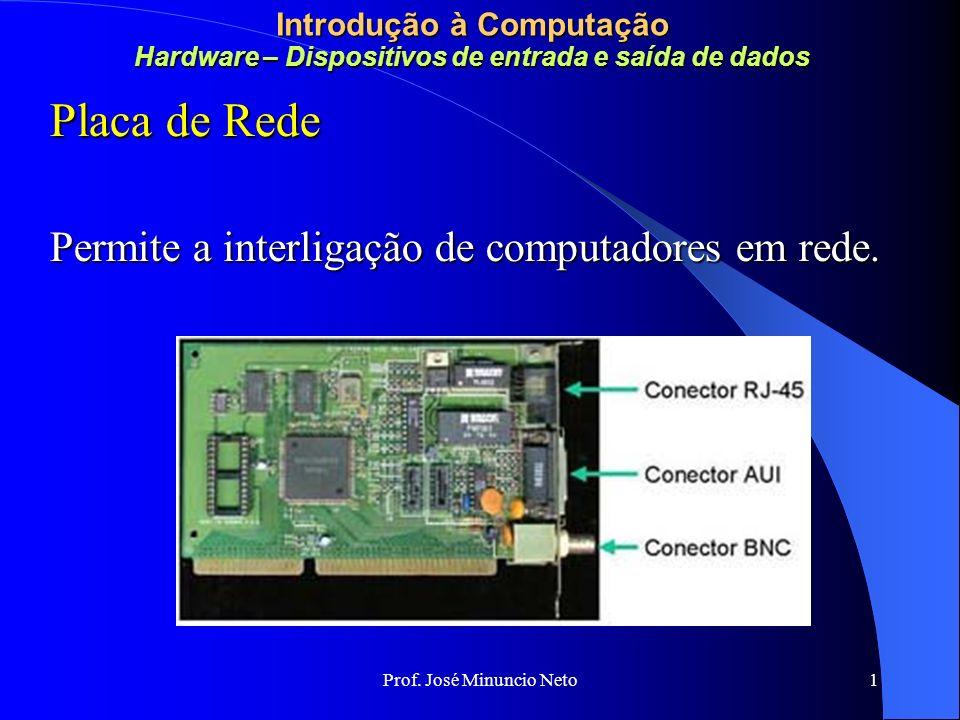 Placa de Rede Permite a interligação de computadores em rede.