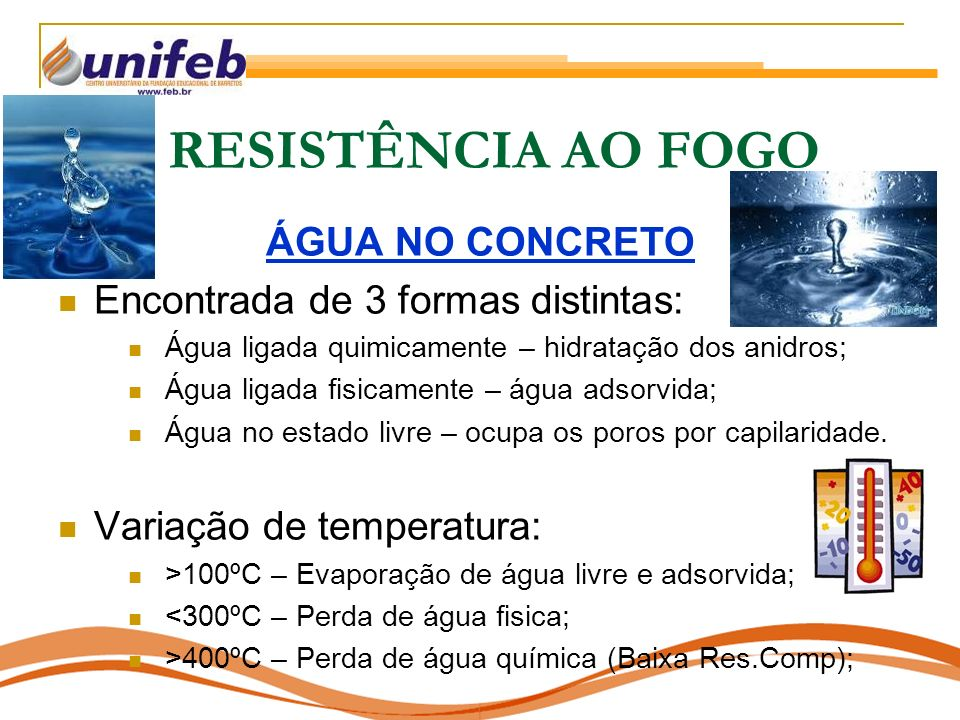 RESISTÊNCIA AO FOGO ÁGUA NO CONCRETO Encontrada de 3 formas distintas:
