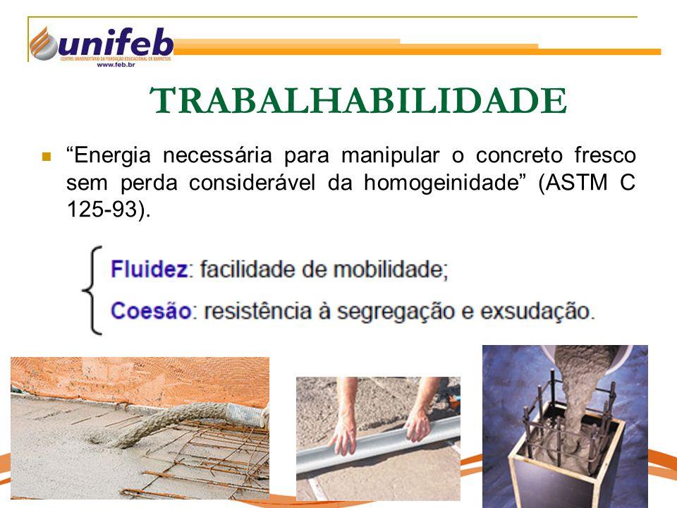 TRABALHABILIDADE Energia necessária para manipular o concreto fresco sem perda considerável da homogeinidade (ASTM C 125-93).
