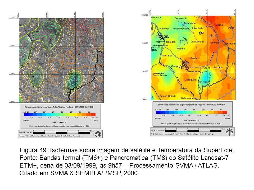 Figura 49: Isotermas sobre imagem de satélite e Temperatura da Superfície.
