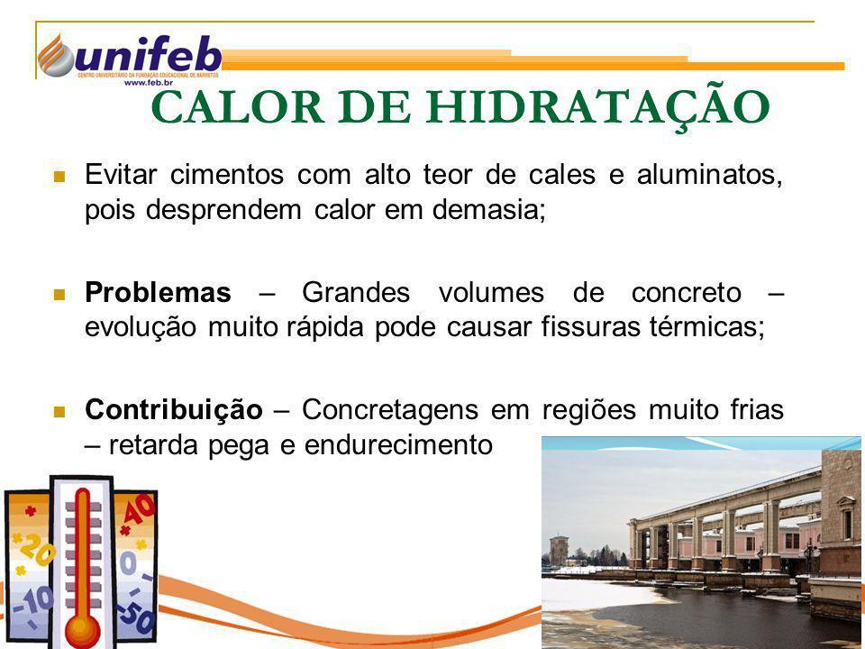 CALOR DE HIDRATAÇÃO Evitar cimentos com alto teor de cales e aluminatos, pois desprendem calor em demasia;