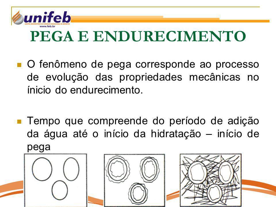 PEGA E ENDURECIMENTO O fenômeno de pega corresponde ao processo de evolução das propriedades mecânicas no ínicio do endurecimento.