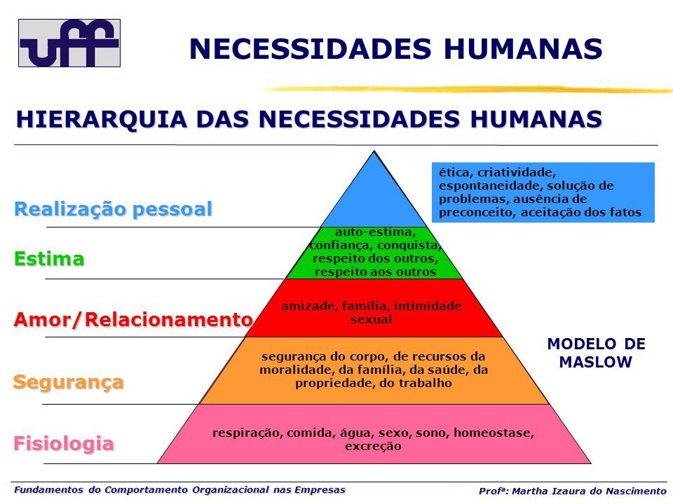 NECESSIDADES HUMANAS HIERARQUIA DAS NECESSIDADES HUMANAS
