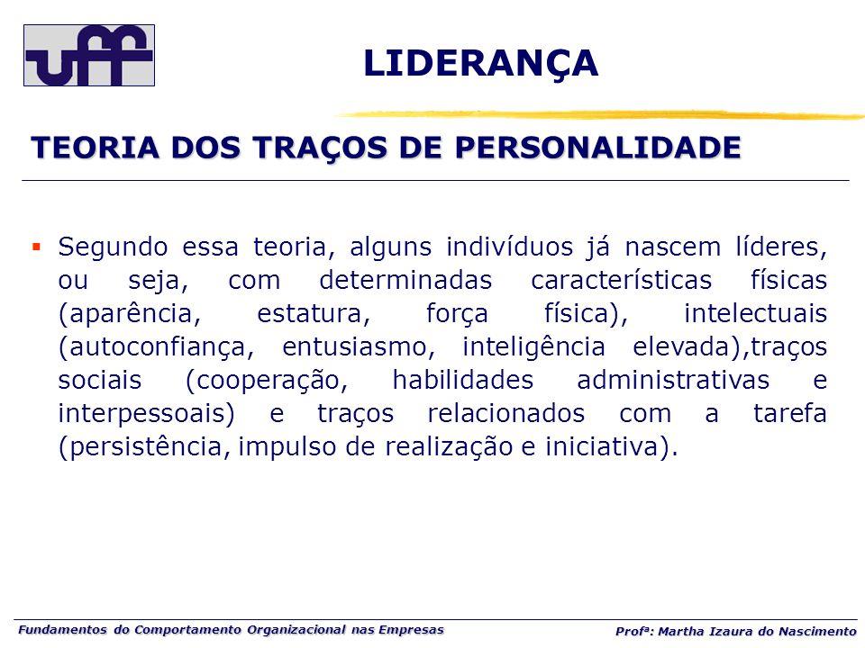 LIDERANÇA TEORIA DOS TRAÇOS DE PERSONALIDADE