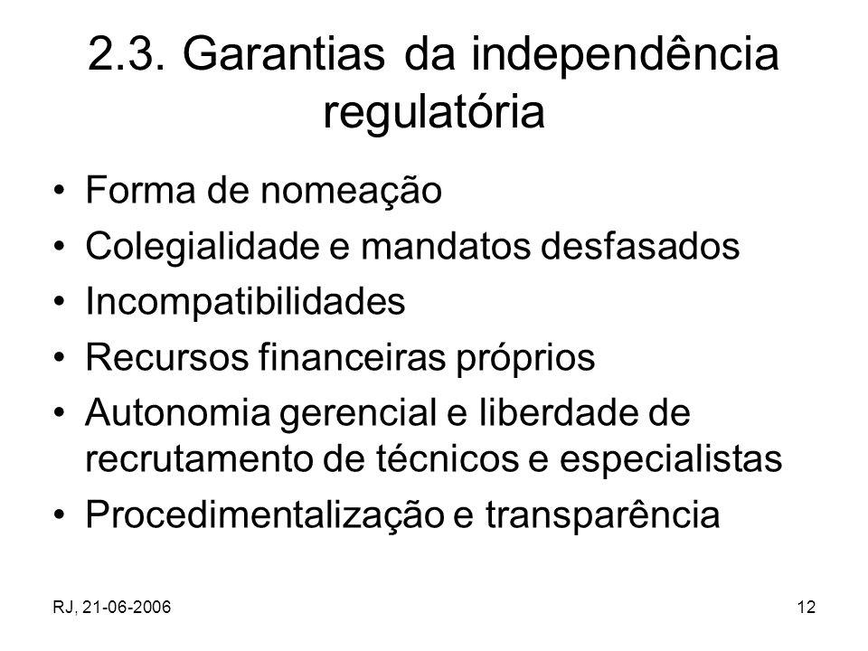 2.3. Garantias da independência regulatória
