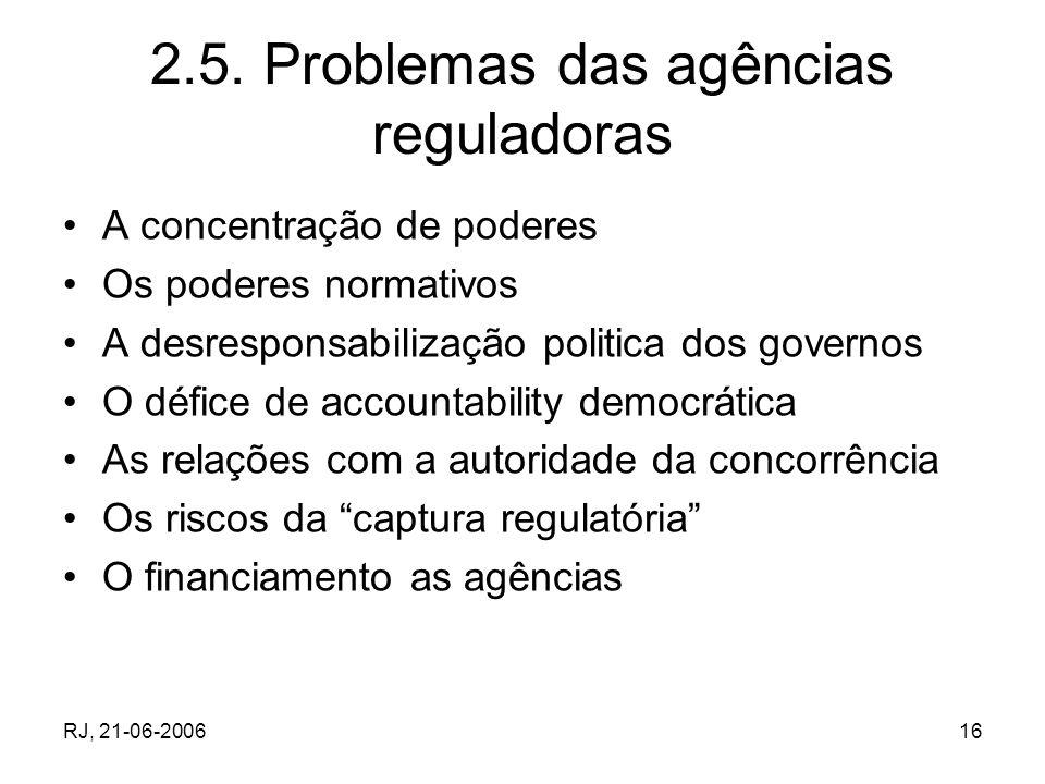 2.5. Problemas das agências reguladoras