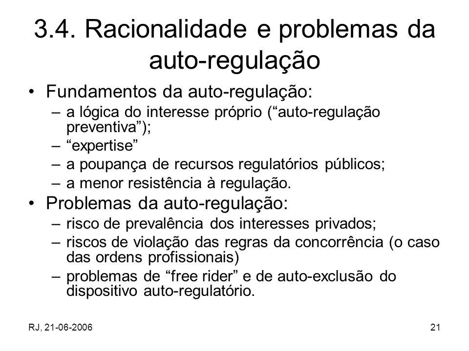 3.4. Racionalidade e problemas da auto-regulação