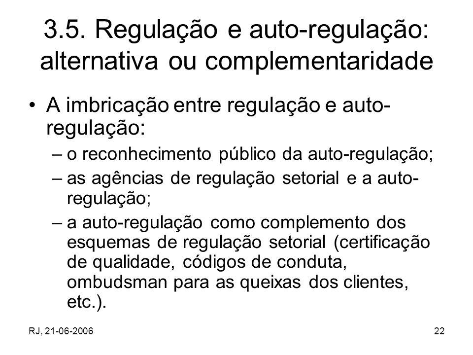 3.5. Regulação e auto-regulação: alternativa ou complementaridade
