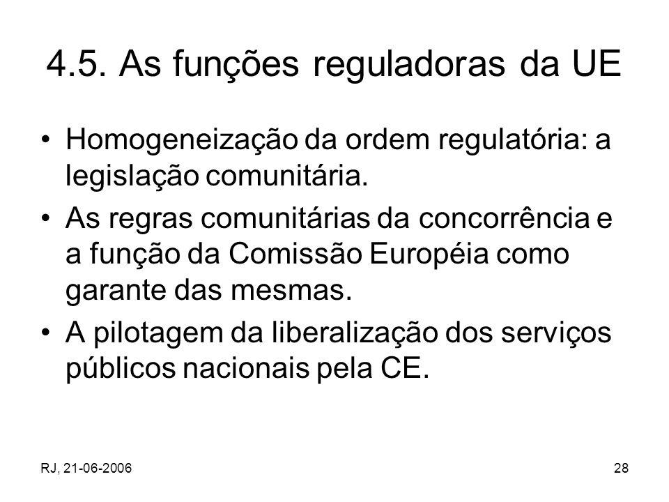 4.5. As funções reguladoras da UE