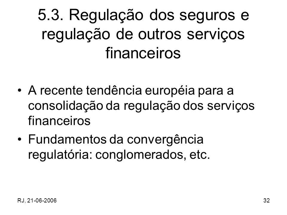 5.3. Regulação dos seguros e regulação de outros serviços financeiros