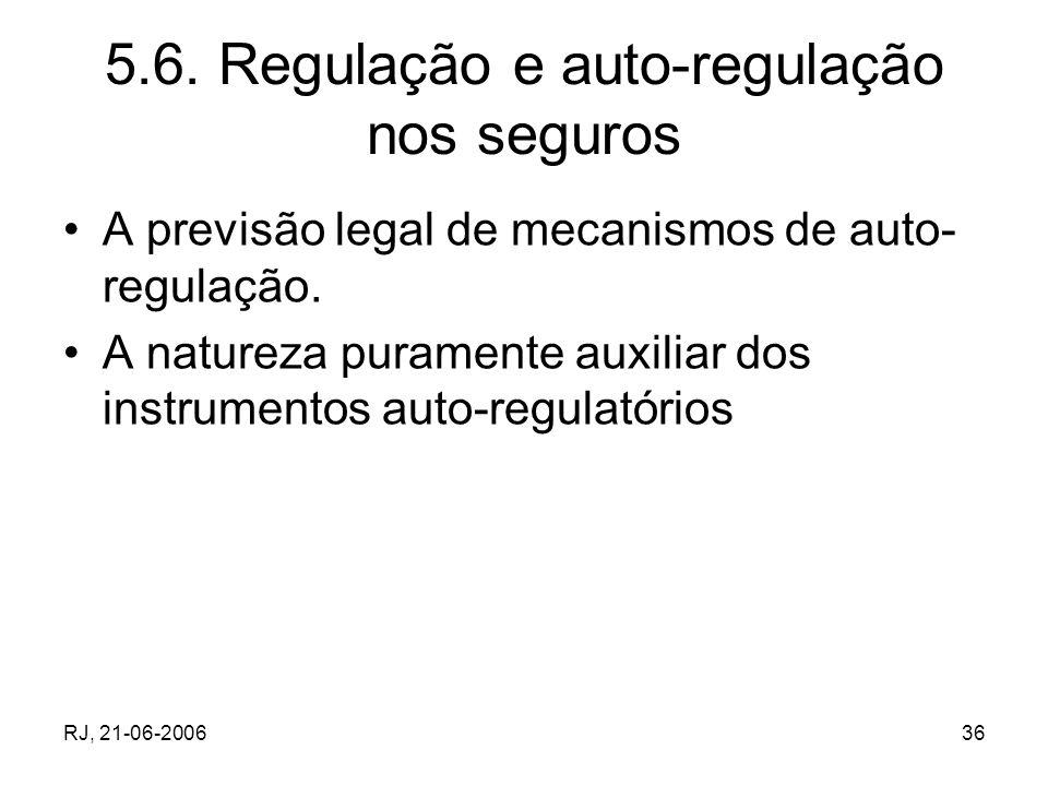5.6. Regulação e auto-regulação nos seguros