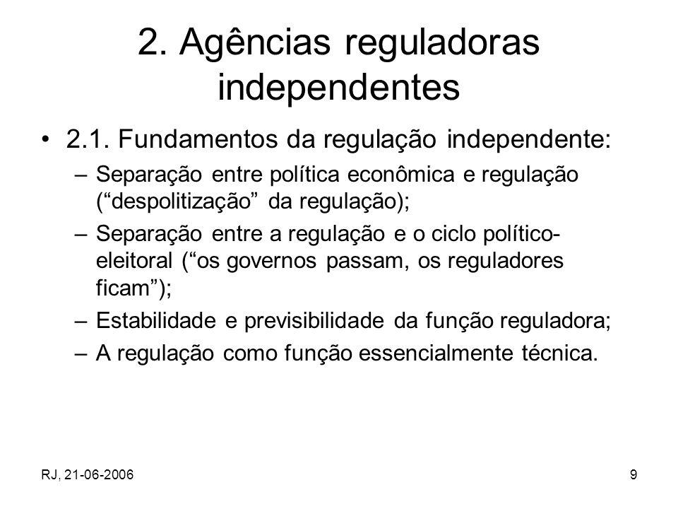 2. Agências reguladoras independentes