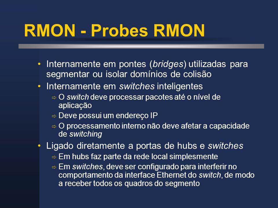 RMON - Probes RMON Internamente em pontes (bridges) utilizadas para segmentar ou isolar domínios de colisão.
