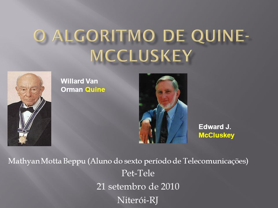 O algoritmo de Quine-McCluskey