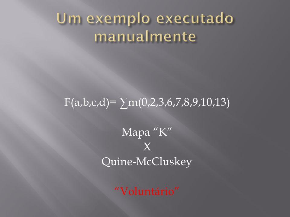 Um exemplo executado manualmente