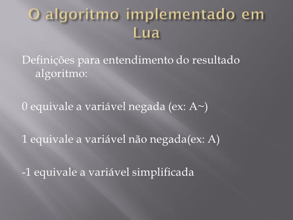 O algoritmo implementado em Lua
