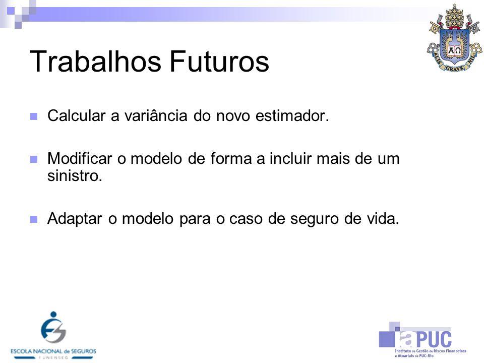 Trabalhos Futuros Calcular a variância do novo estimador.