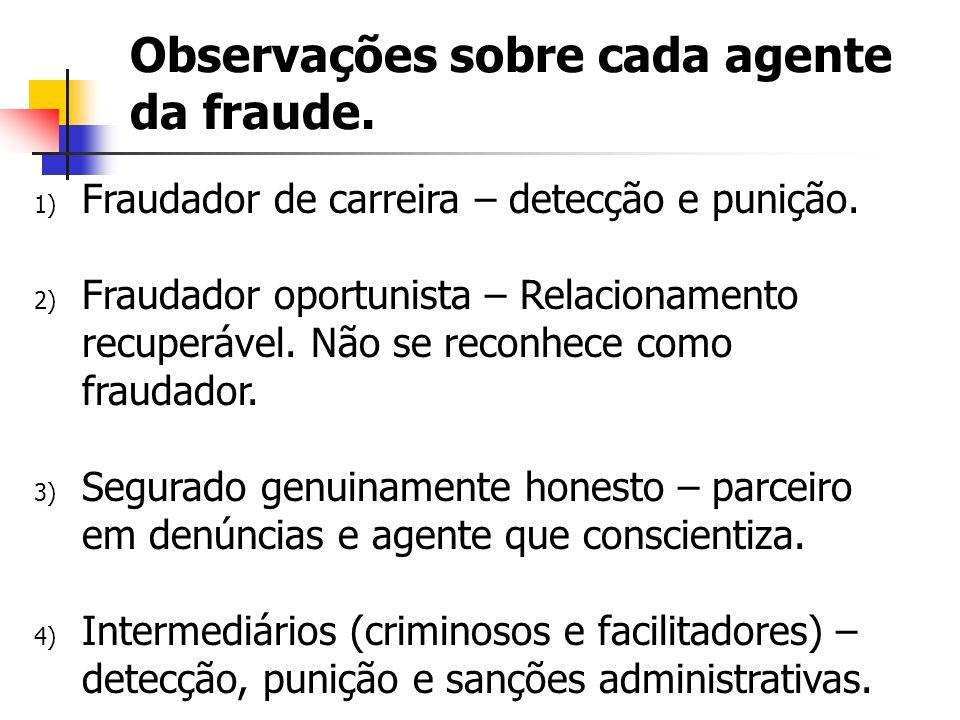 Observações sobre cada agente da fraude.