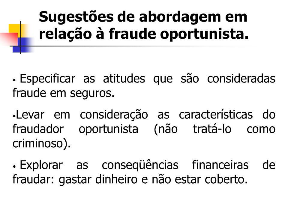Sugestões de abordagem em relação à fraude oportunista.