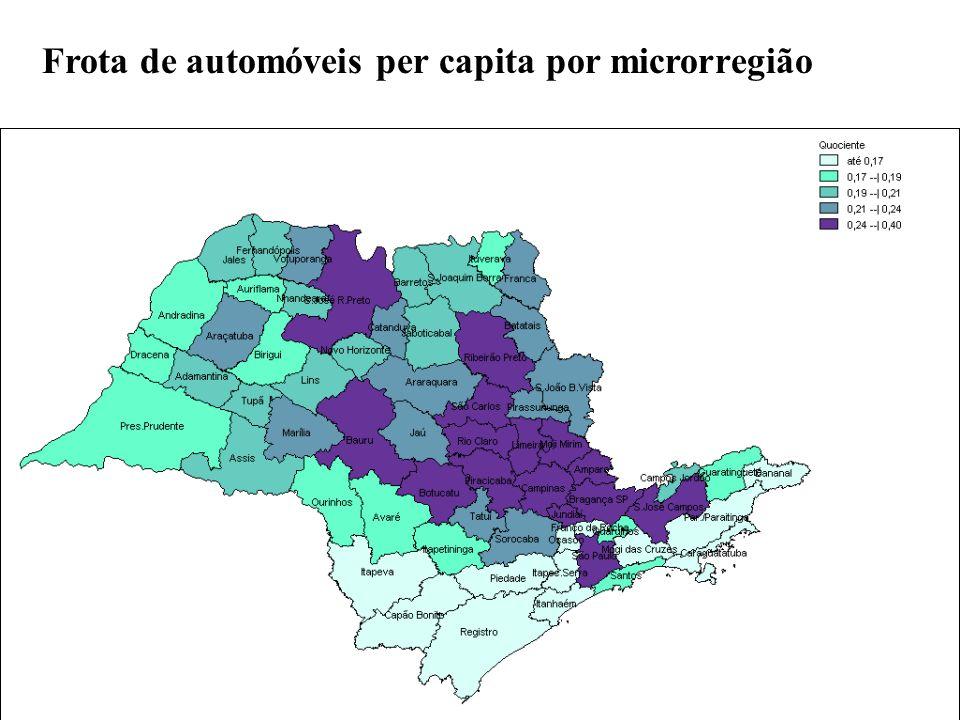 Frota de automóveis per capita por microrregião