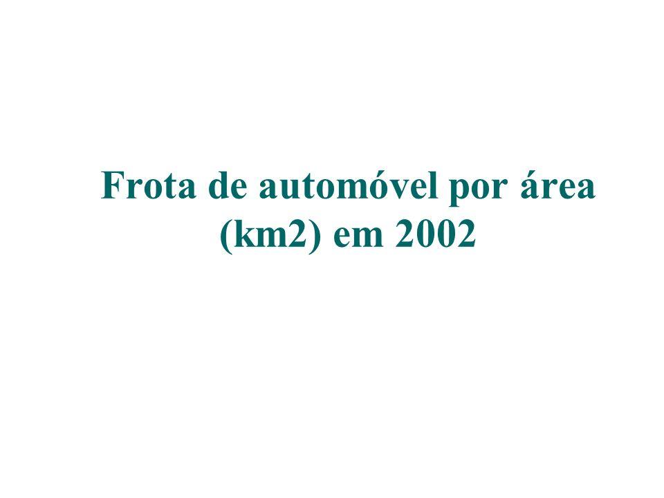 Frota de automóvel por área (km2) em 2002