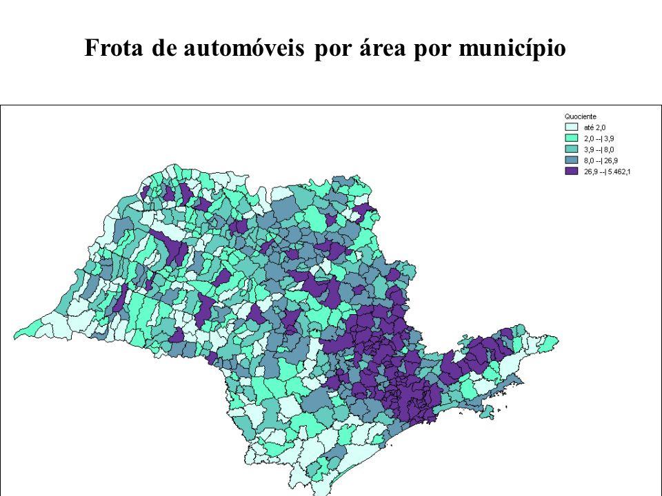 Frota de automóveis por área por município
