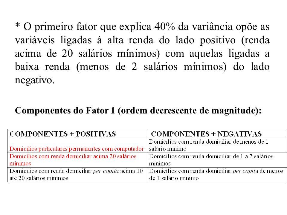 * O primeiro fator que explica 40% da variância opõe as variáveis ligadas à alta renda do lado positivo (renda acima de 20 salários mínimos) com aquelas ligadas a baixa renda (menos de 2 salários mínimos) do lado negativo.