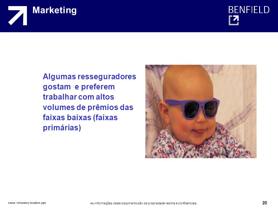 Marketing Algumas resseguradores gostam e preferem trabalhar com altos volumes de prêmios das faixas baixas (faixas primárias)