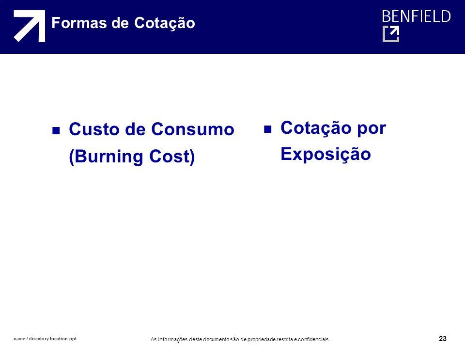 Custo de Consumo (Burning Cost) Cotação por Exposição