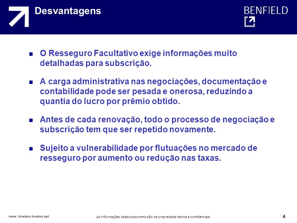 Desvantagens O Resseguro Facultativo exige informações muito detalhadas para subscrição.