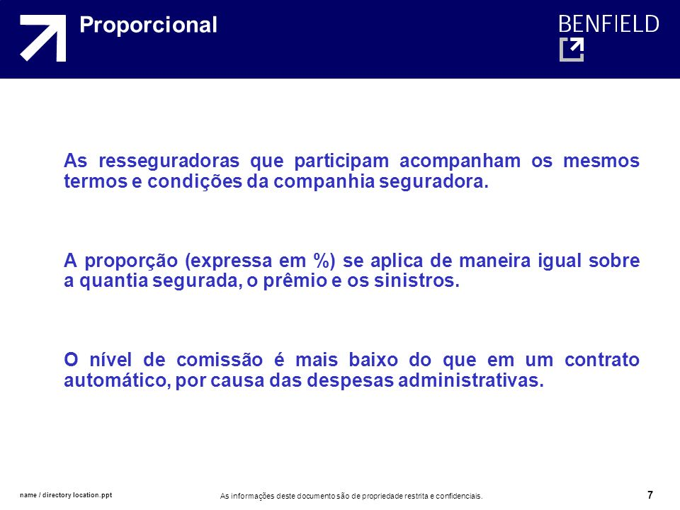 Proporcional As resseguradoras que participam acompanham os mesmos termos e condições da companhia seguradora.