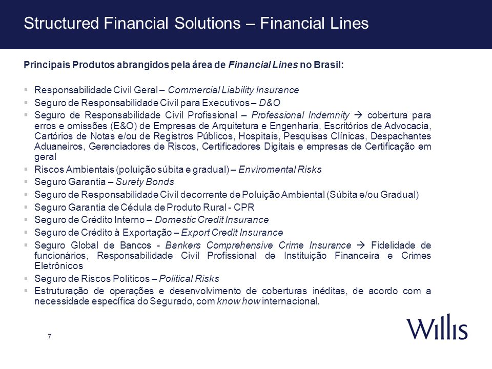 Structured Financial Solutions – Financial Lines