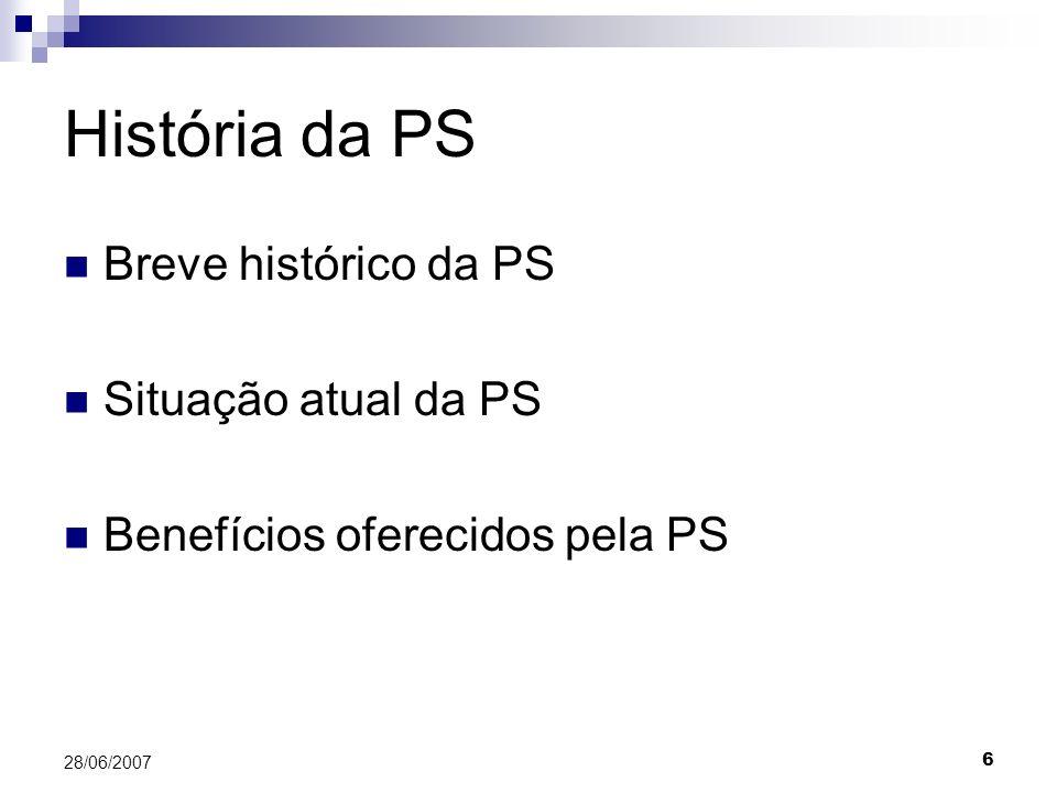 História da PS Breve histórico da PS Situação atual da PS